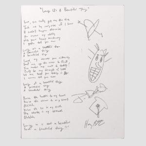 Sprezzatura – Autographed Handwritten Lyric Sheet