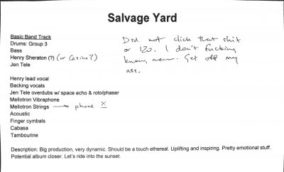 "Production notes for ""Salvage Yard"""