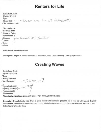 Production notes for Renters for Life and Cresting Waves.